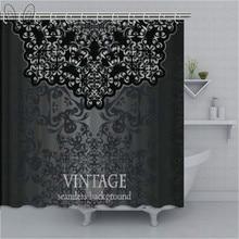Dark Grey Bathroom Curtain Vintage Damask Inspired Ornament Victorian  Waterproof Shower Curtain Polyester Bath Decor Sets