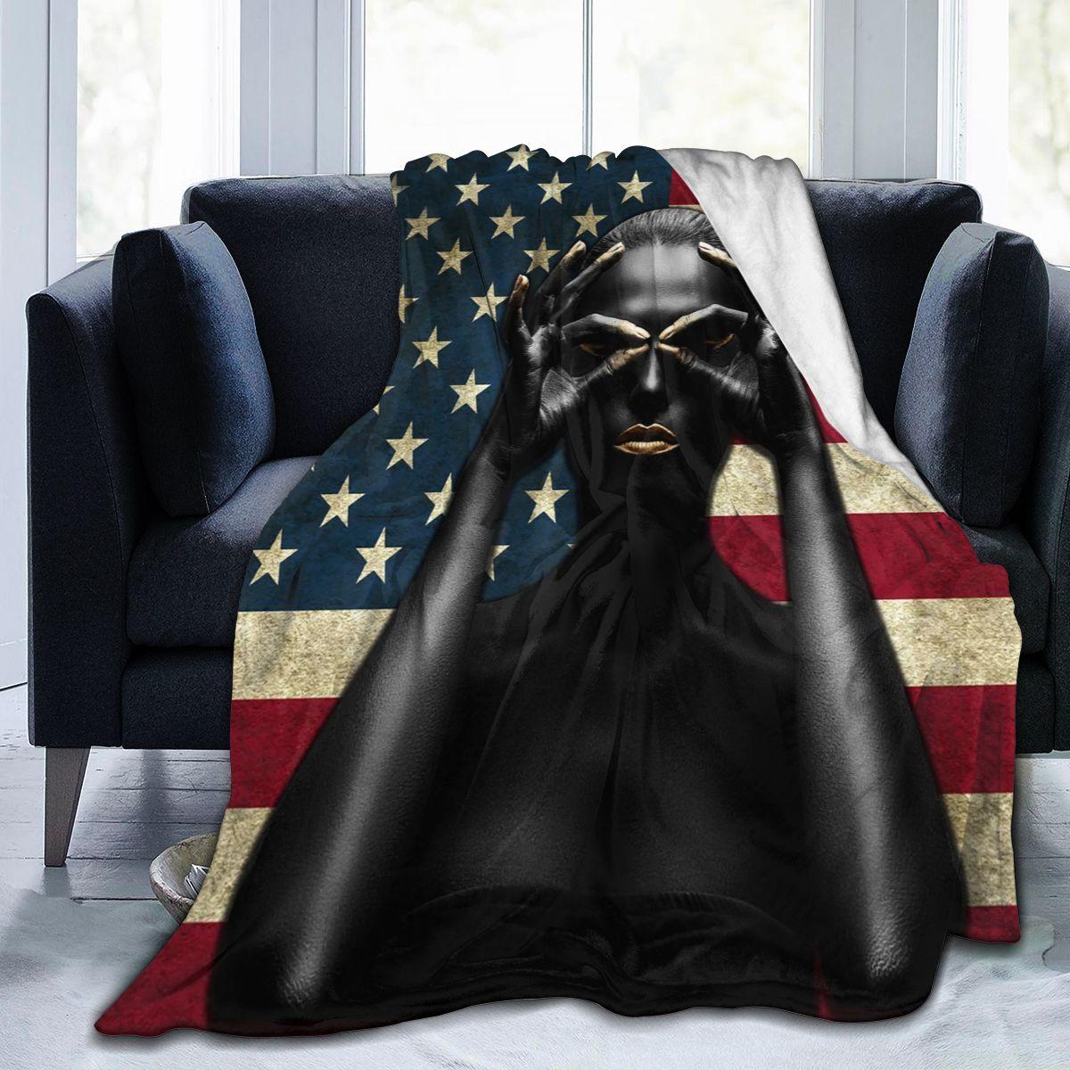 أسود الذهب الأمريكية بطانية تصميم الفانيلا بطانية صوف طباعة أريكة السرير الدافئة رمي بطانية الكبار Sherpa بطانية style0