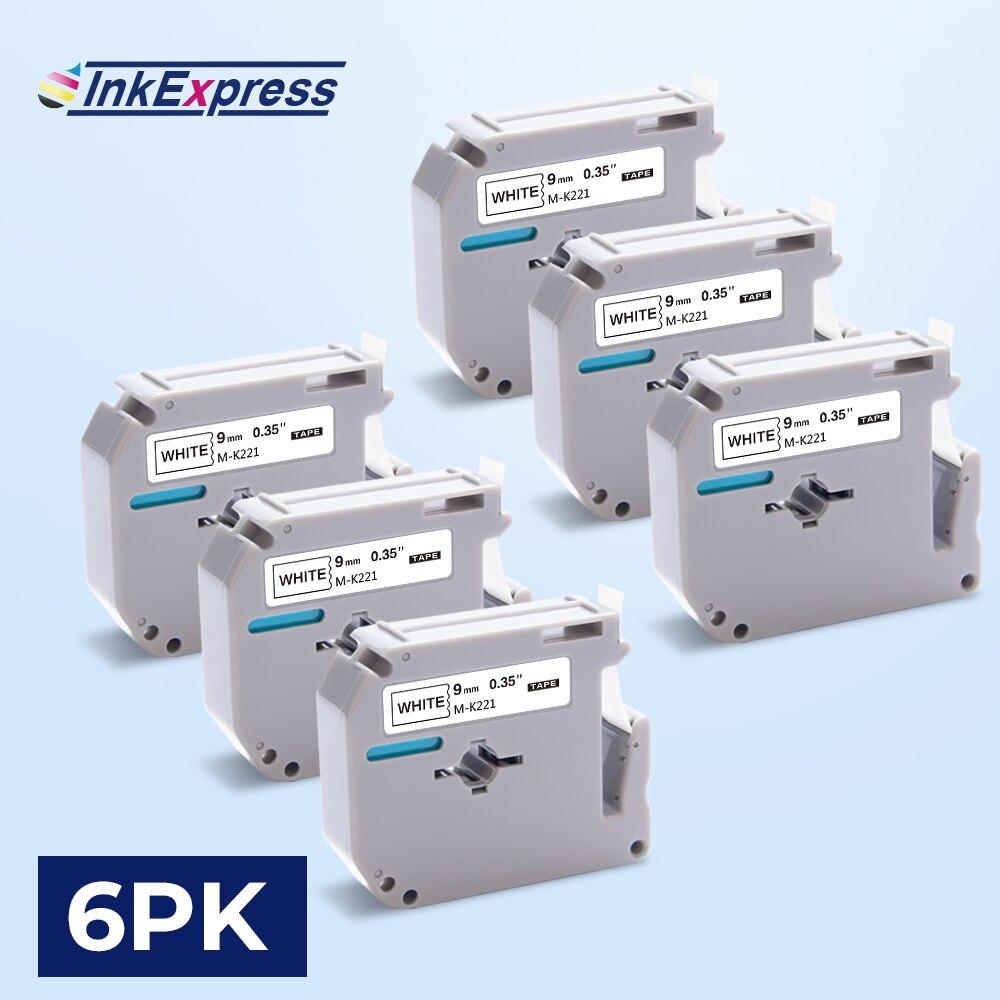 Cinta de etiquetas InkExpress 6PK MK221 MK 221 cinta de impresora 9mm Compatible con etiquetas Brother mk-221 mk221 para fabricante de etiquetas Brother P touch