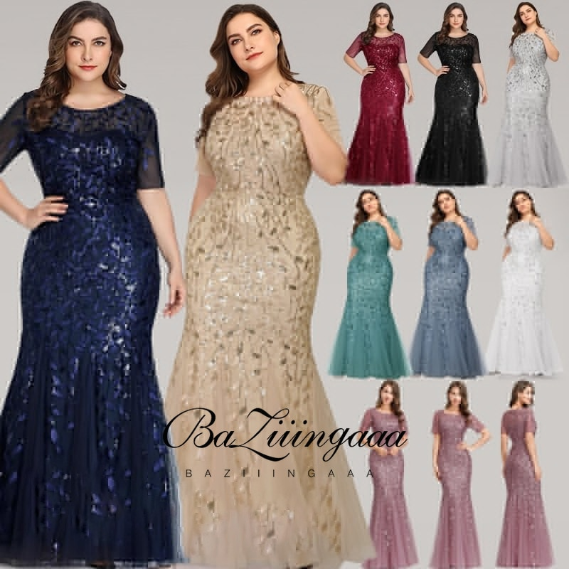 Ever Pretty Dress Plus Size Sequin Mesh Mermaid Slim Evening Dress Beaded Leaves Pattern  Formal Dress Women Elegant