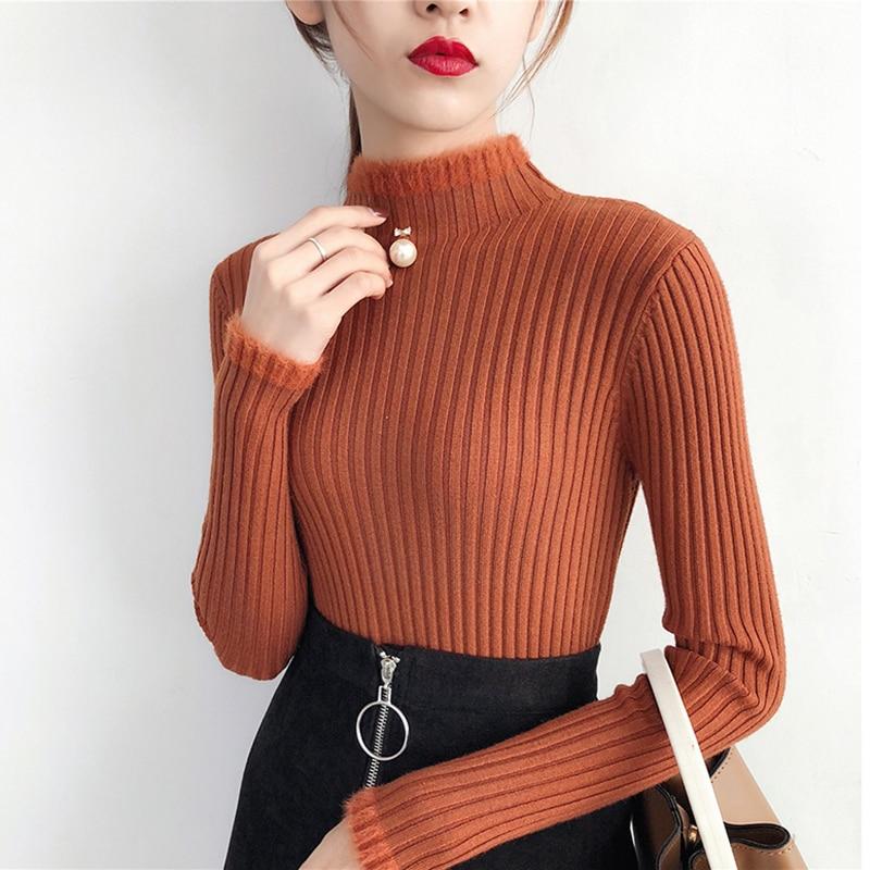 Свитер женский стрейчевый с высоким горлом, мягкая Базовая рубашка с длинным рукавом, облегающий Однотонный свитер в Корейском стиле, Осень...