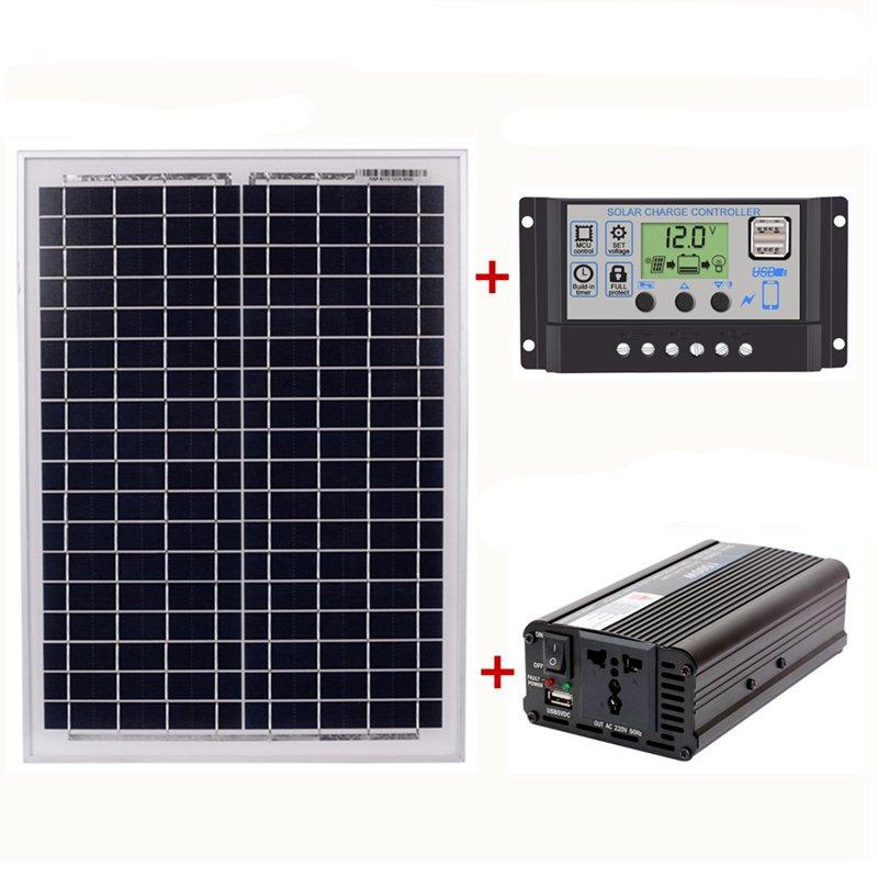 18V2 0 واط لوحة طاقة شمسية + 12 فولت/24 فولت تحكم + 1500 واط العاكس Ac220v عدة ، مناسبة للخارجية والمنزل Ac220v الشمسية الموفرة للطاقة P