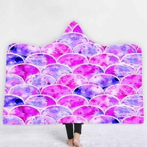 3D Print Wave Hooded Blanket Winter Warm Sherpa Fleece Throw Blanket Wearable Blanket With Hat Sofa School Home Travel Picnic