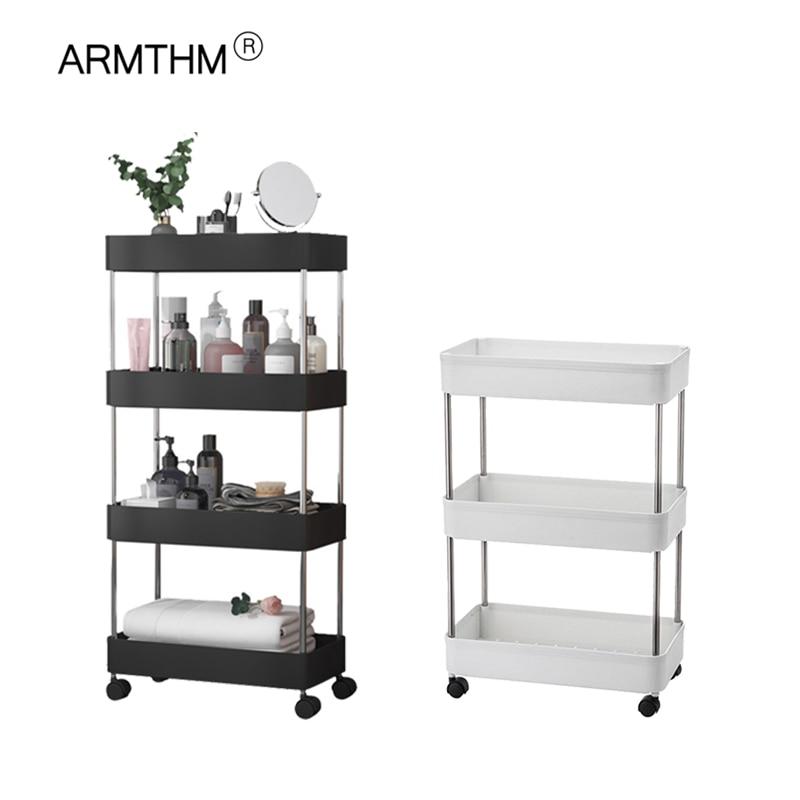 Carrito de cocina para baño, estante de piso multicapa, estante de almacenamiento extraíble, ahorro de espacio, estante para almacenar móvil, organizador con ruedas