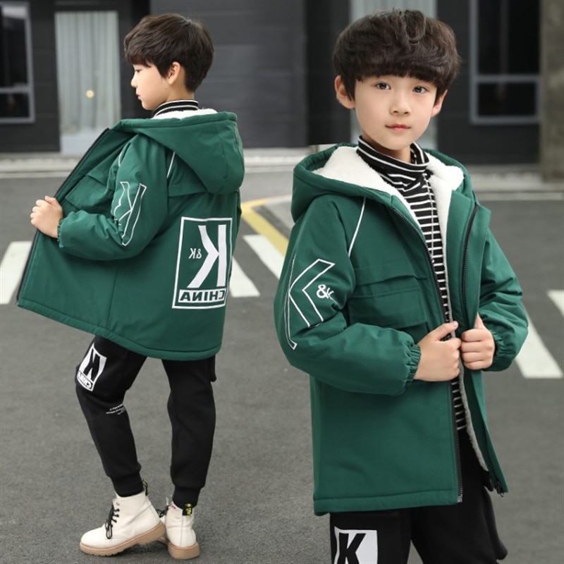 Medium and older children fleece padded coat autumn and winter New Western style children's mid-length trench coat Korean tops enlarge