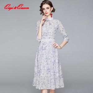 Qiqi&Queen Chiffon Embroidered 3/4 Sleeve Bohemia Long Dress Fashion Vintage Party Dresses Elegant Slim Autumn Vestidos