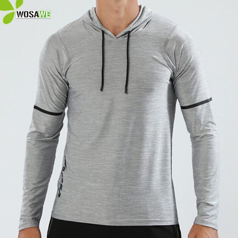 Llanura Camisetas de deporte de los hombres de manga larga con capucha tapas cómodo tela Anti-ejercicios para sudar corriendo hombre ropa de deporte de gimnasio