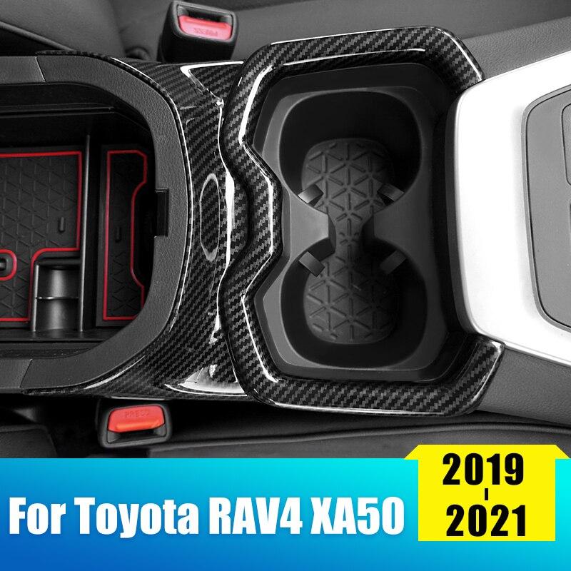 ABS Chrome Wood Grain Car Front Water Cup Holder Cover Trim Frame Decor For Toyota RAV4 2019 2020 2021 RAV 4 XA50 Accessories