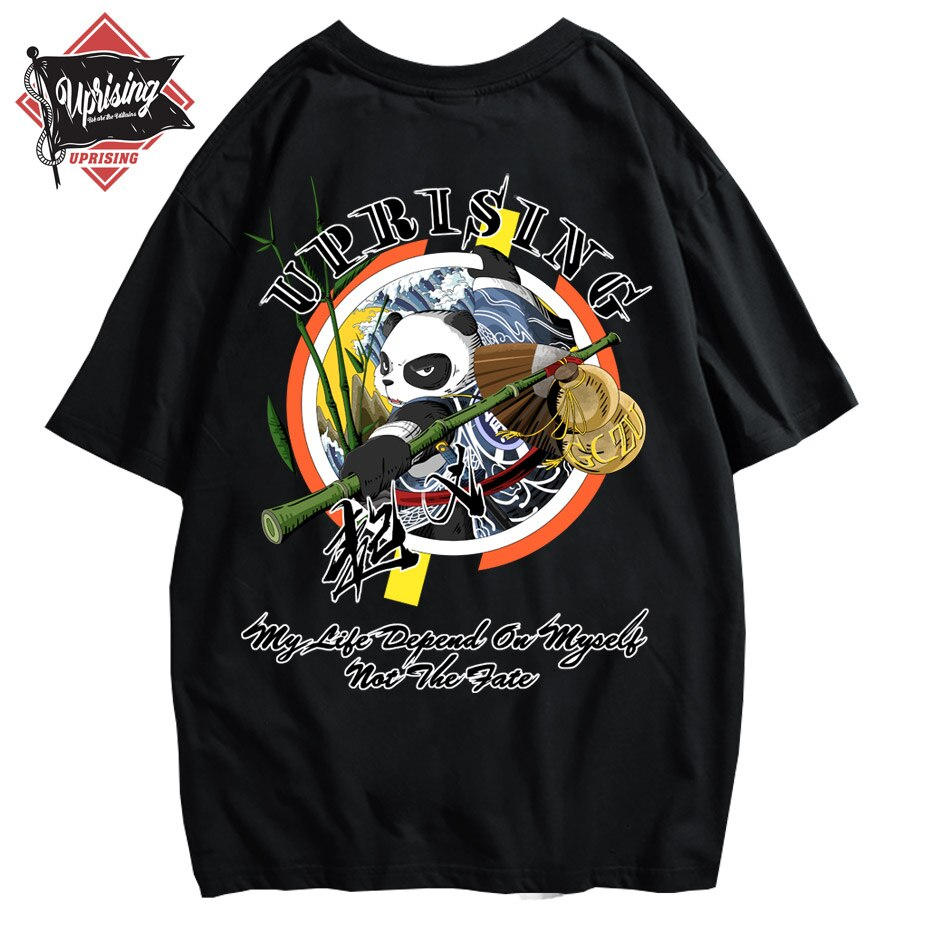 Восстание новая футболка панда бамбук кунг-фу китайский стиль хип-хоп с коротким рукавом Футболка tide бренд личности печати