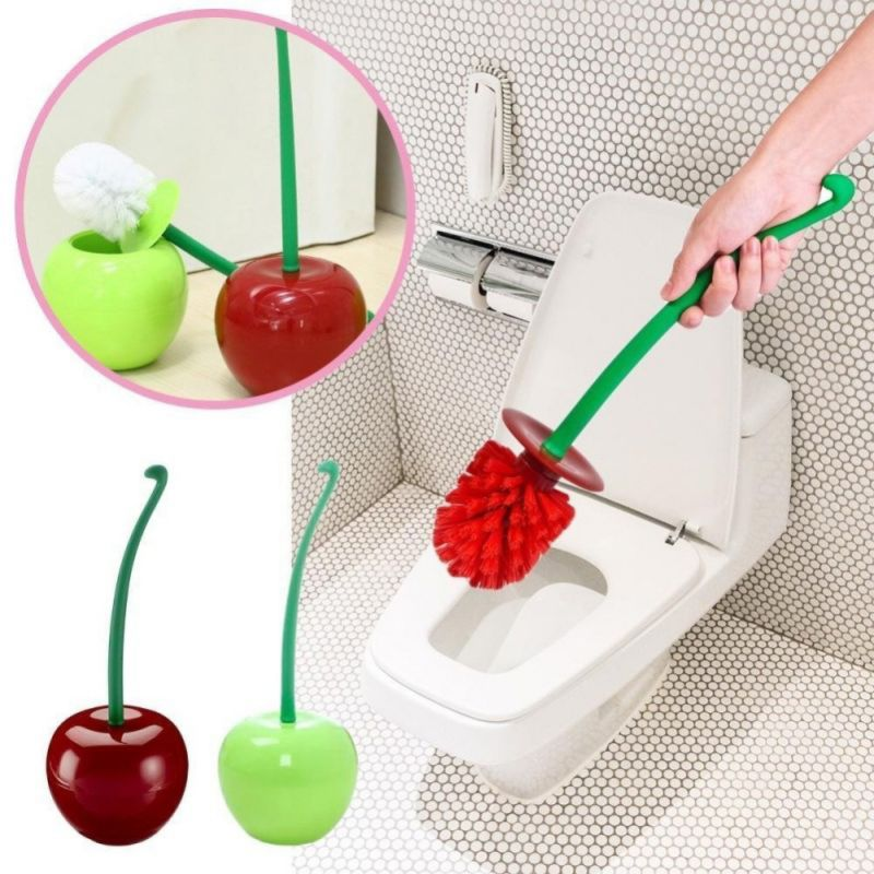 Lovely Cherry Shape Bathroom Toilet Clean Brush Set Compact Lavatory Brush With Holder Bathroom Cleaning Tool Bath Accessories