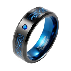 8mm Mens Black Tungsten Ring Blue Celtic Dragon With Sapphire Inlay Wedding Bands Blue Carbon Fiber Anniversary Promise Ring