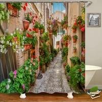 Rideau de douche de jardin europeen a fleurs  motif floral rustique  etanche  imprime 3d  avec 12 crochets  en tissu Polyester