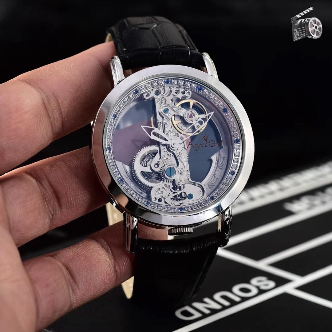 الكلاسيكية الجديدة الرجال التلقائي ساعات آلية الذهب الفضة الماس مقاوم للماء الزجاج الشفاف هيكل عظمي جلد أسود AAA +