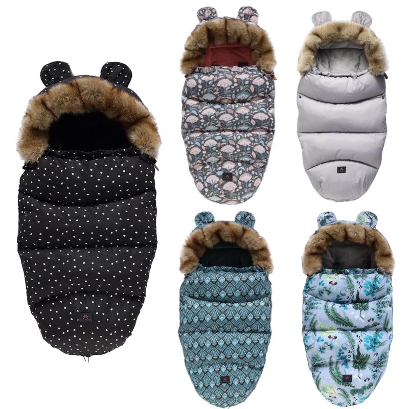 Baby Stroller Sleeping Bag Winter Thick Warm Envelope Sleepsack Windproof Waterproof Footmuff For Newborn Removable Sleeping Bag