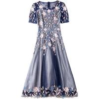 2019 summer new round neck short sleeved slim high waist dress beaded mesh slim temperament elegant a line dresses