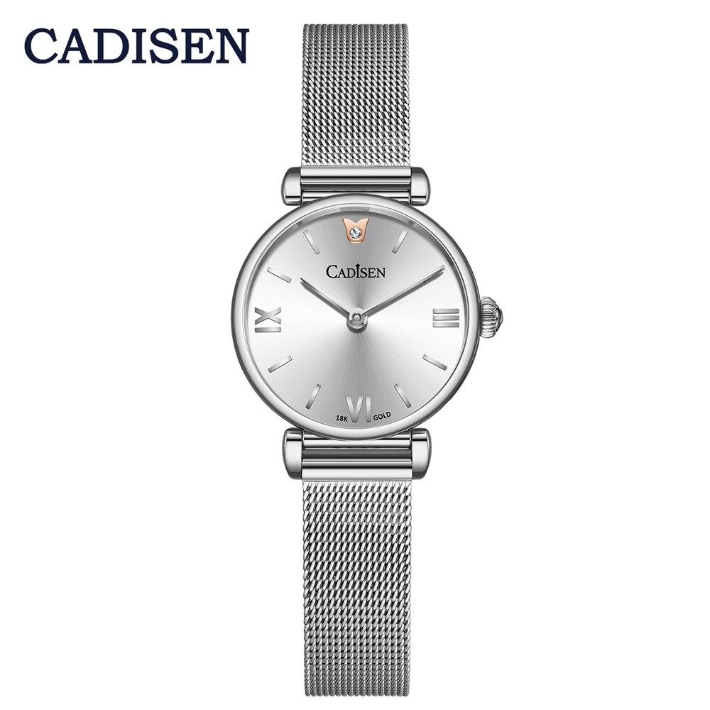 2020 NEW CADISEN 18K GOLD Woman Watch Luxury Brand Stainless steel Mesh Belt Wristwatch 30M Waterproof Quartz Watch Reloj Mujer enlarge