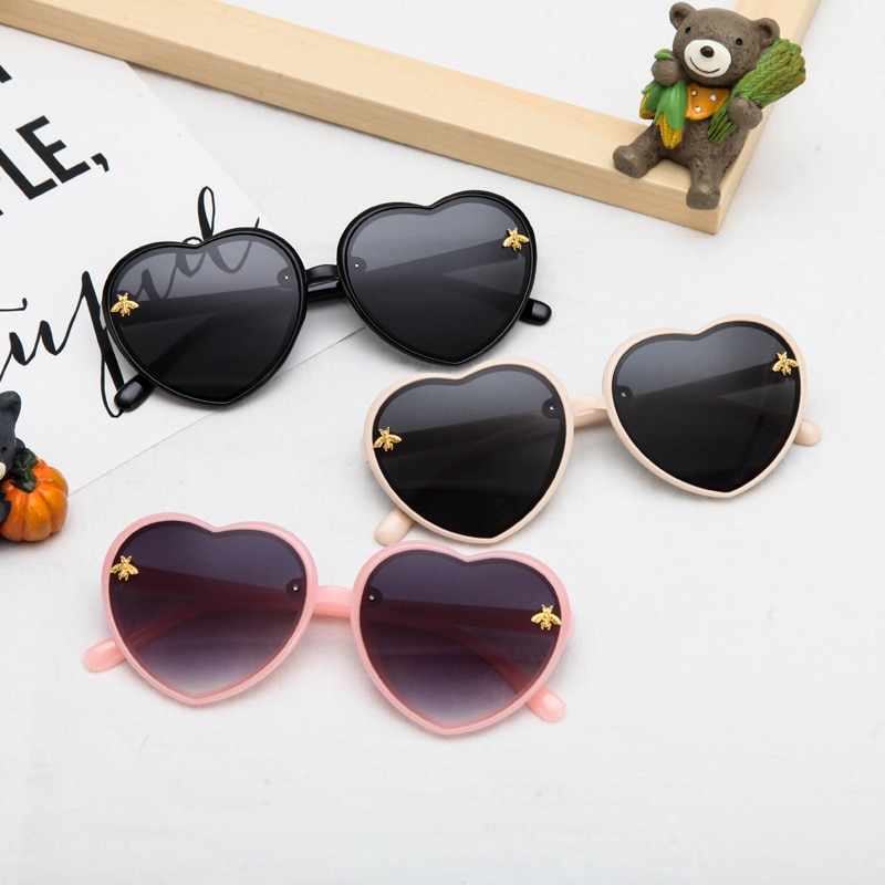 2021fashion New Trends Heart Kids Sunglasses Children Retro Cute Cartoon Bee Pink Sun Glasses Frame