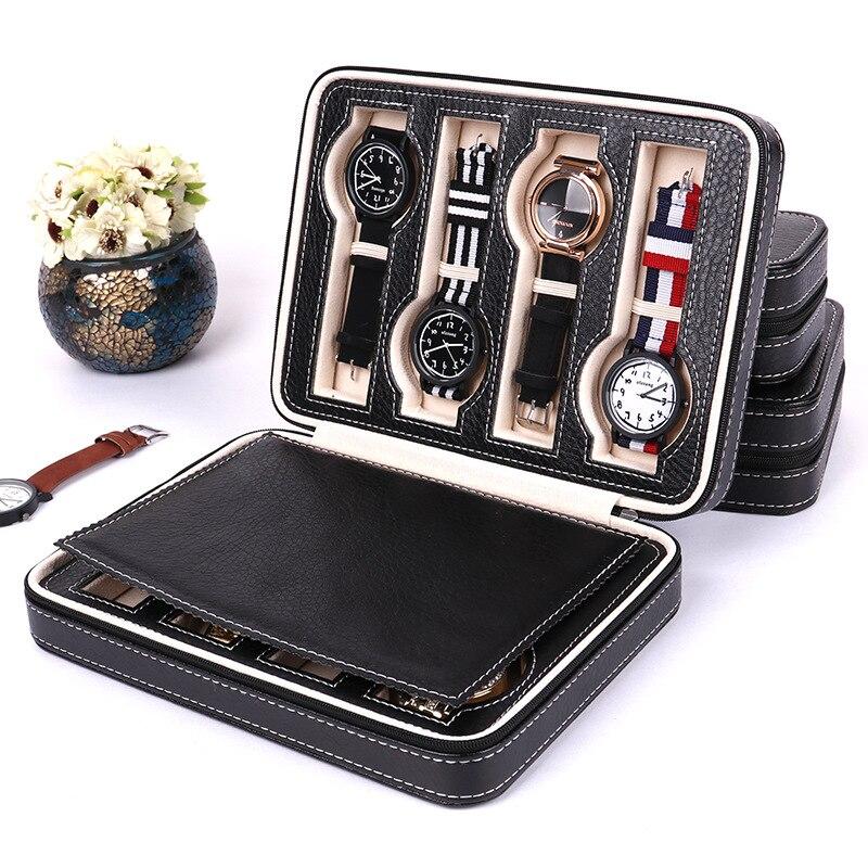 Slots de Luxo Caixa de Relógio de Qualidade Titular para Relógios Moda Masculina Couro Superior Relógio Masculinos 0907-29 8