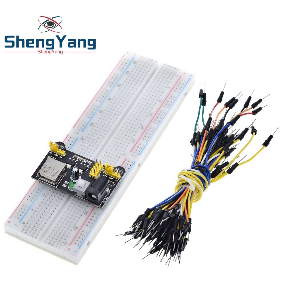 3,3 V/5V MB102 макет модуль питания + MB 102 830 точек прототип макетная плата для набора arduino + 65 перемычек оптовая продажа Интегральные схемы      АлиЭкспресс