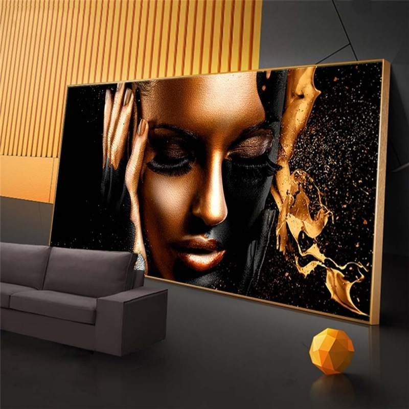AliExpress - Black Gold Nude Woman Oil Paintings on Canvas African Wall Art Posters and Prints Scandinavian Wall Pictures for Living Room