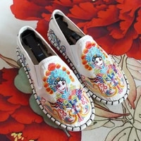 new chinese opera white embroidered shoes womens flat shoes myth pattern slip on casual shoes women design canvas loafers women