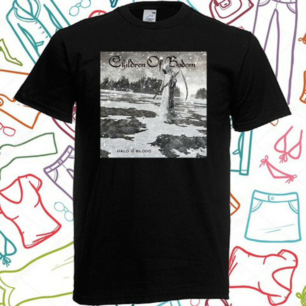 Новинка, Мужская черная футболка Bodom Halo Of Blood, размеры S, M, L, XL, 3XL, 3XL
