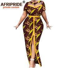 Africain imprimé printemps femmes robe AFRIPRIDE bazin richi 100% coton à manches courtes cheville longueur robe fendue pour les femmes A1925003