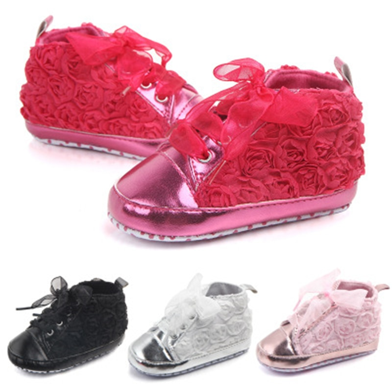 Four seasons flower baby shoes Soft non-slip sole baby shoes Cute rose flower bright leather toddler