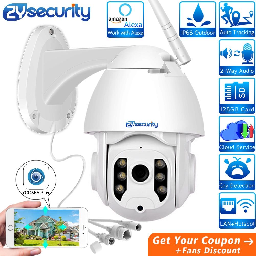 1080p Wifi PTZ cámara domo de velocidad de seguimiento automático inalámbrico al aire libre funciona con Alexa vigilancia CCTV cámara IP de seguridad YCC365