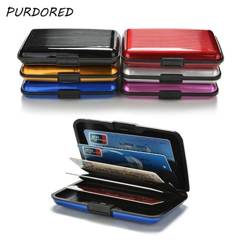PURDORED 1 Pc Men Aluminum Bank Card Holder Blocking Hard Case Wallet Solid Credit Card Anti-RFID Sc