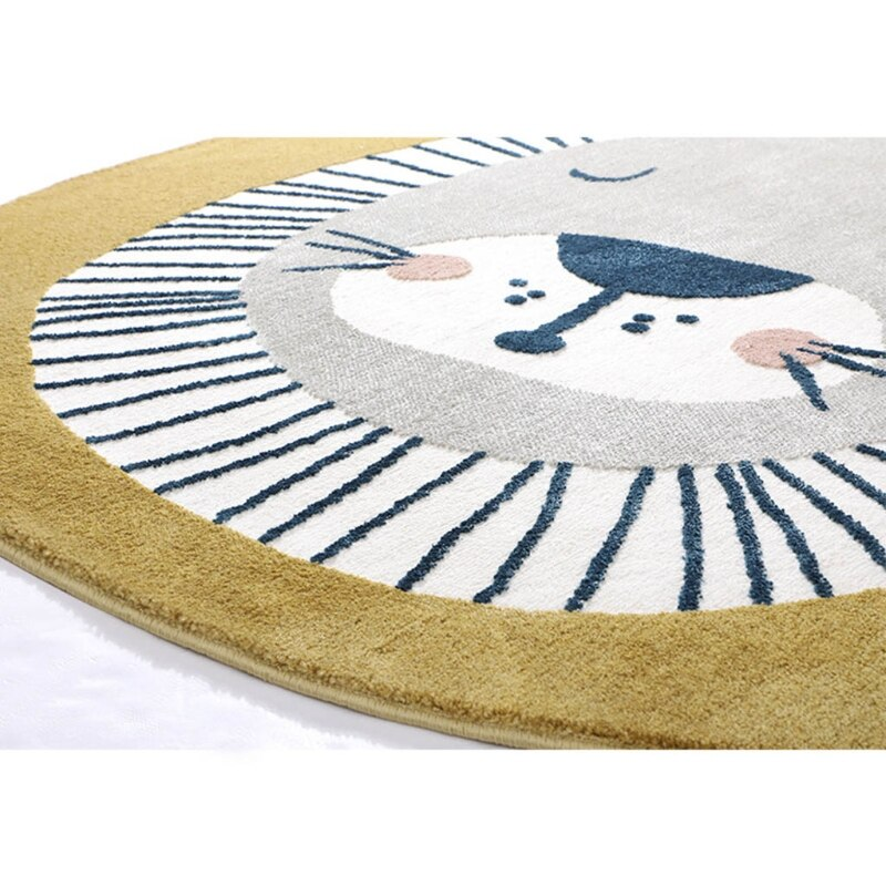 85DE Baby Play Mat Crawling Carpet Kids Room Floor Rug Round Cartoon Lion Printed Pad