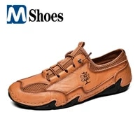 new mens shoes summer breathable leather casual shoes mens flat loafers men outdoor sneakers mesh moccasins zapatillas hombre