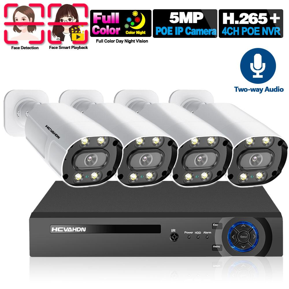اتجاهين الصوت كاميرا تلفزيونات الدوائر المغلقة نظام الأمن 4CH 5MP POE طقم NVR في الهواء الطلق مقاوم للماء اللون ليلة فيسون كاميرا مراقبة الفيديو م...
