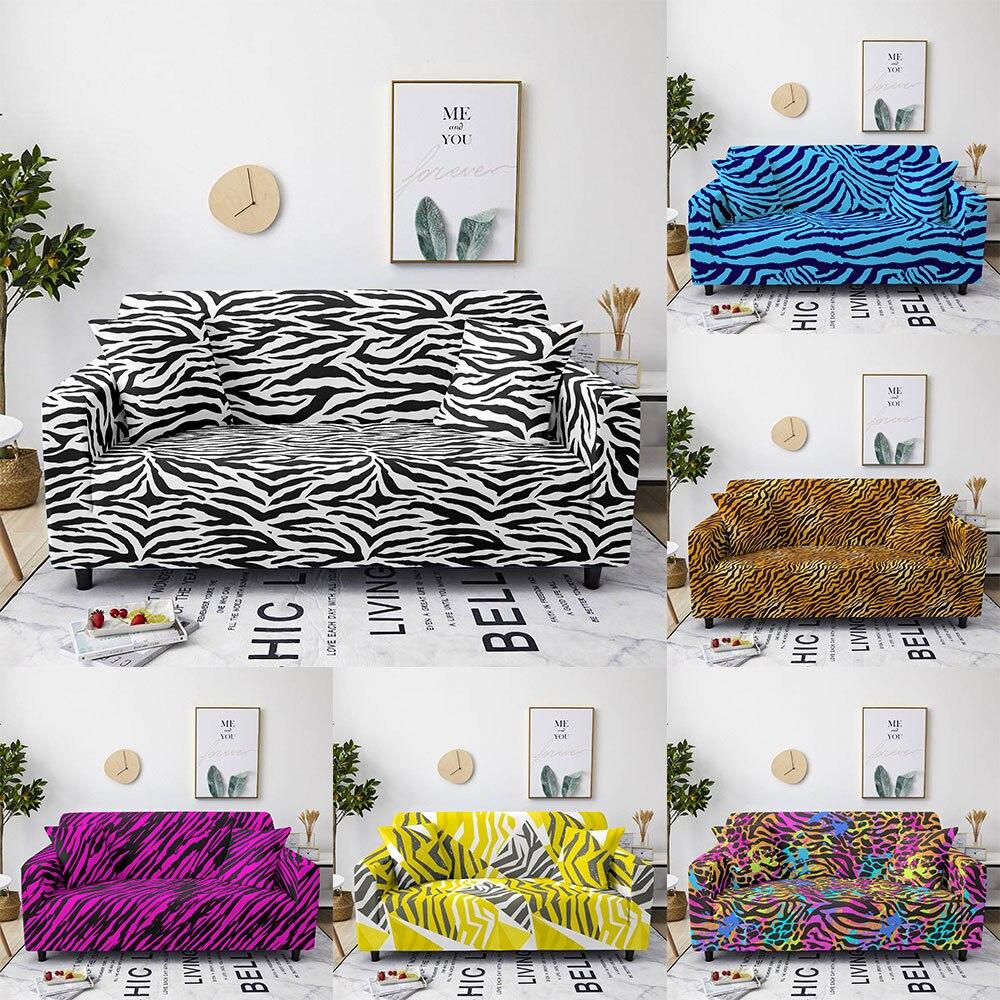 غطاء أريكة مرن بطباعة الفهد ، غطاء أريكة مقطعي على شكل حرف L لغرفة المعيشة ، 1/2/3/4 مقعد