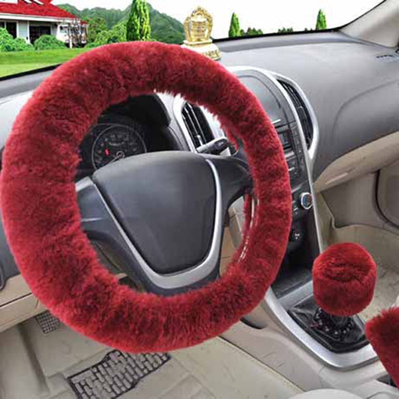 3Pcs Winter Wine Red Steering Wheel Cover+Handbrake cover + car Automatic Covers / Warm Super thick Plush Gear Shift Collar