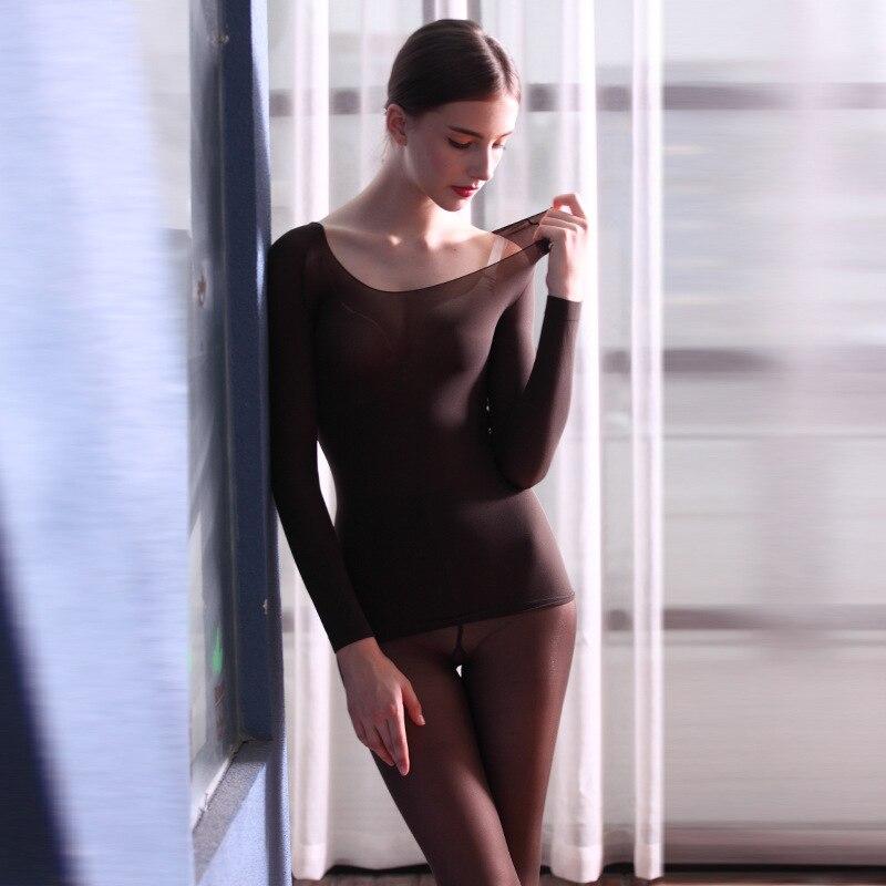 خفيفة ورقيقة المرأة ملابس اخلية حرارية المرأة عالية مطاطا ملابس اخلية حرارية سلس دعوى 2 قطعة مجموعة للنساء الشتاء