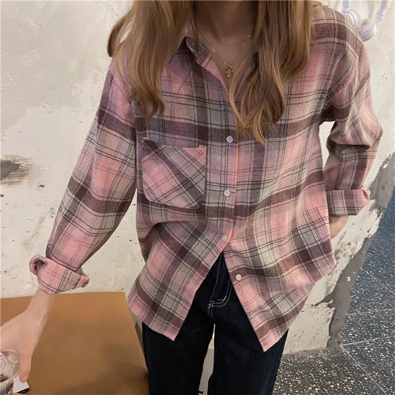 Personality Chic Woman'S Blouse 2021 Spring Plaid Retro Fashion Lapel Long Sleeve BF Boyfriend Soft Comfortable Loose Shirt