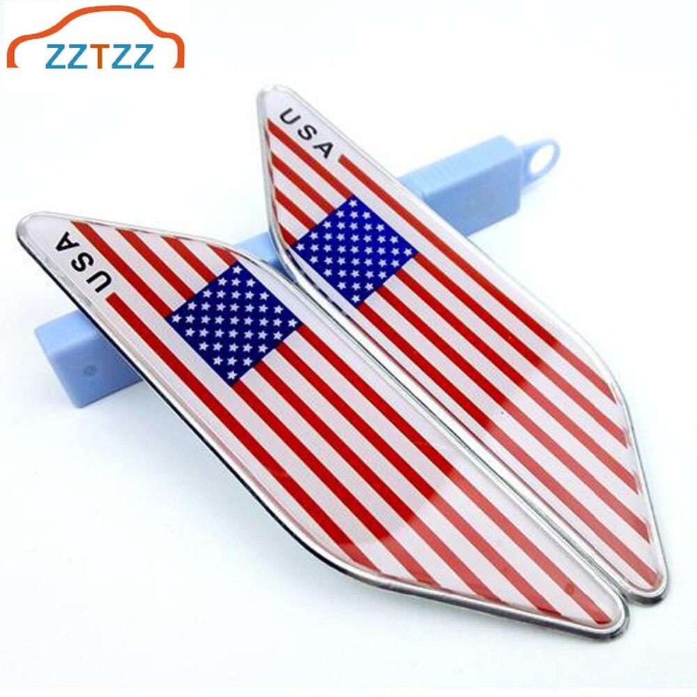 2 unids/par de plástico 3D con Metal bandera estadounidense emblema de coche insignia pegatina para coches universales Moto bici accesorios decorativos