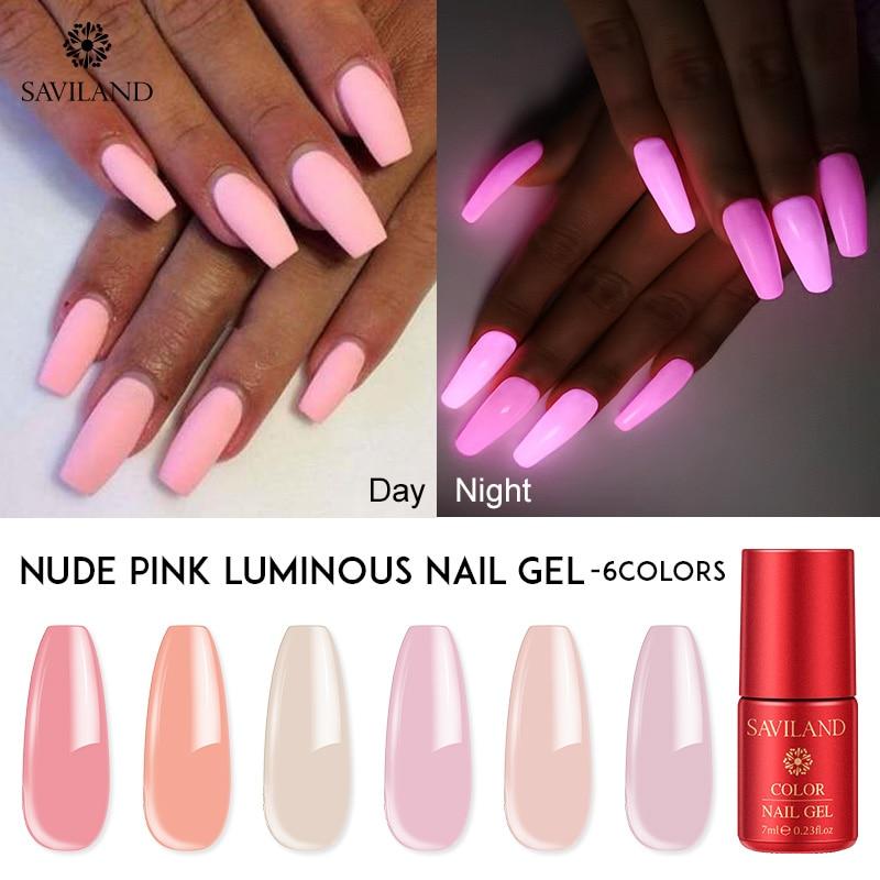 SAVILAND 7ML Nude Pink Gel Polish Glow In Dark Semi Permanent Luminous Gel Lacquer DIY Soak Off UV LED for Nails Design