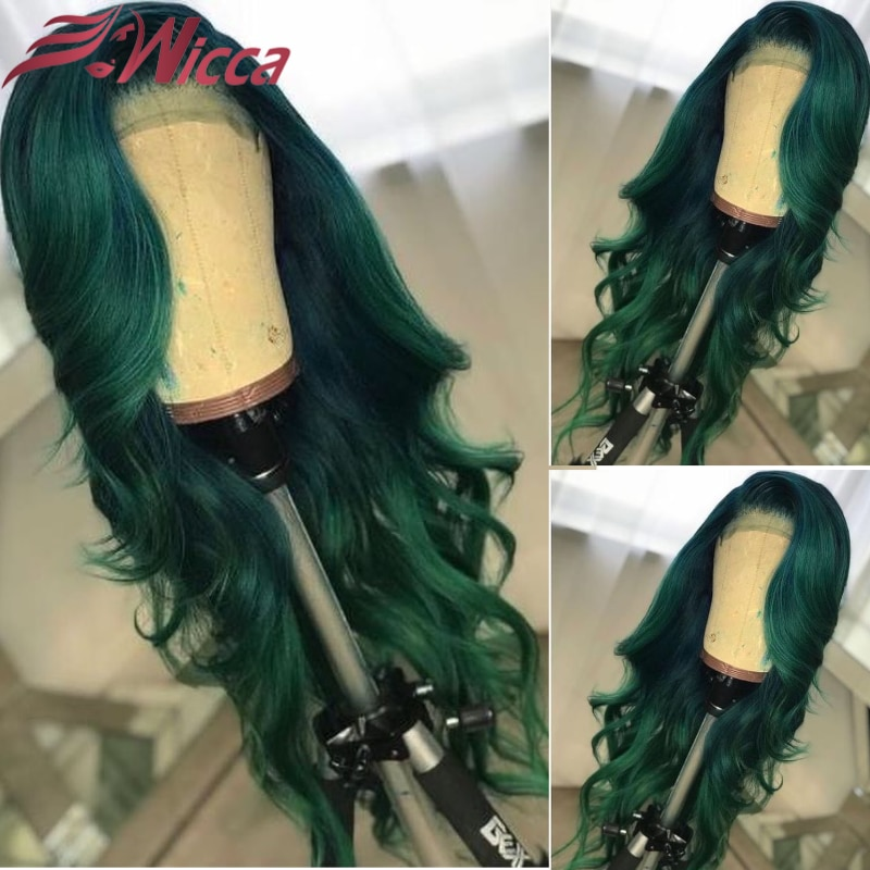 Green Colored 13x4 Lace Front Wig For Women with Baby Hair Transparent 180% Remy Human Hair Body Wave Wigs for Women Closure Wig
