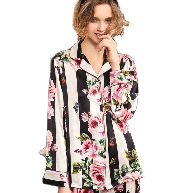 Real Silk Pajama Sets Female Romantic Rose Striped Silkworm Silk Long-Sleeve Two-Piece SILK Woman's Sleepwear T8184