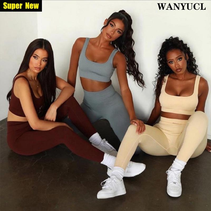 WANYUCL 2021 New Seamless Gym Set Women Fitness Yoga Set Sports Suits High Waist Leggings+Push Up Br