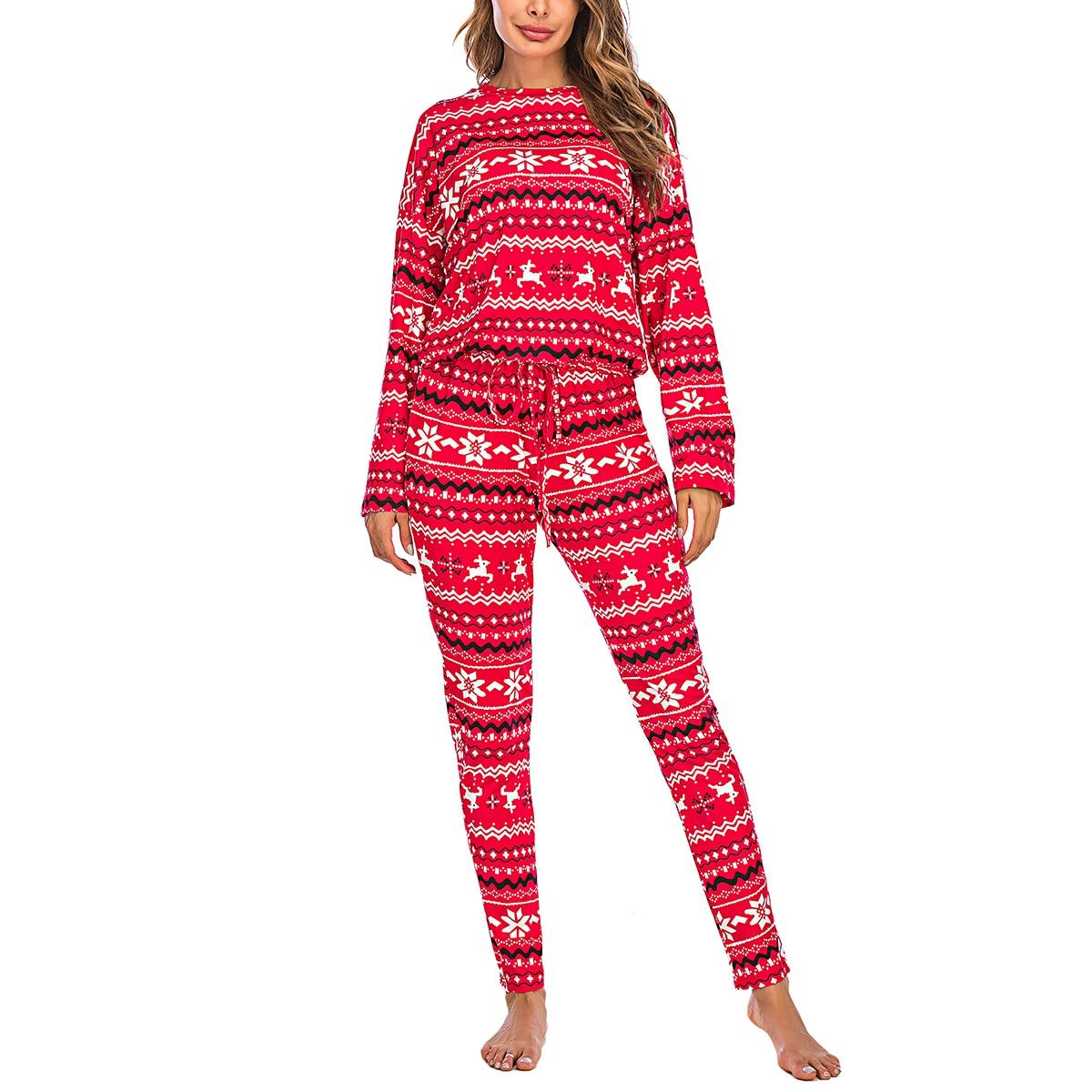 Women's Sleep Top, Christmas Shorts Suit, Round Collar Snowflake Elk Print Loose Elastic Home Clothes elk snowflake geometric print christmas hoodie