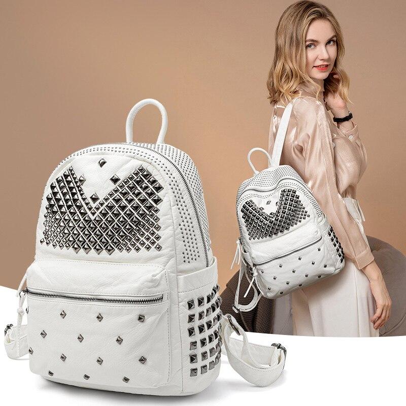 Fashion Rivet Backpacks for Women Soft Pu Leather Travel Backpack Female Back Pack Bags for Women