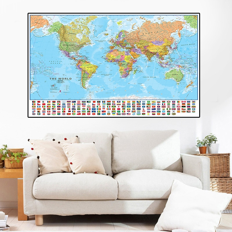 150*100cm The World Political Map Non-woven Canvas Painting with Flags Wall Art Poster Children Study Supplies Home Decoration