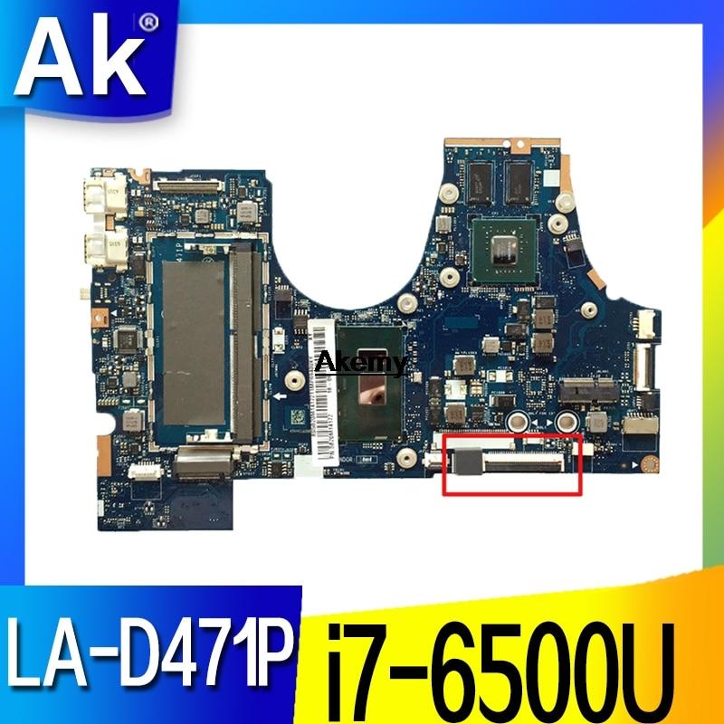 LA-D471P BIUY2_Y3 para Lenovo 710-15ISK, placa base para portátil FRU5B20L47333 SR2EZ I7-6500U DDR4 100% probada
