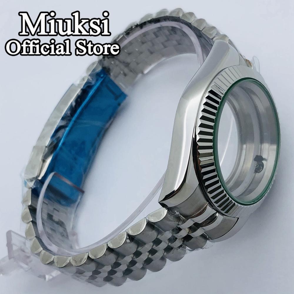 Miuksi 36mm/40mm sapphire glass jubilee bracelet case fit NH35 NH36 ETA 2836 Mingzhu DG2813 3804 Miyota 8205 8215 821A movement enlarge