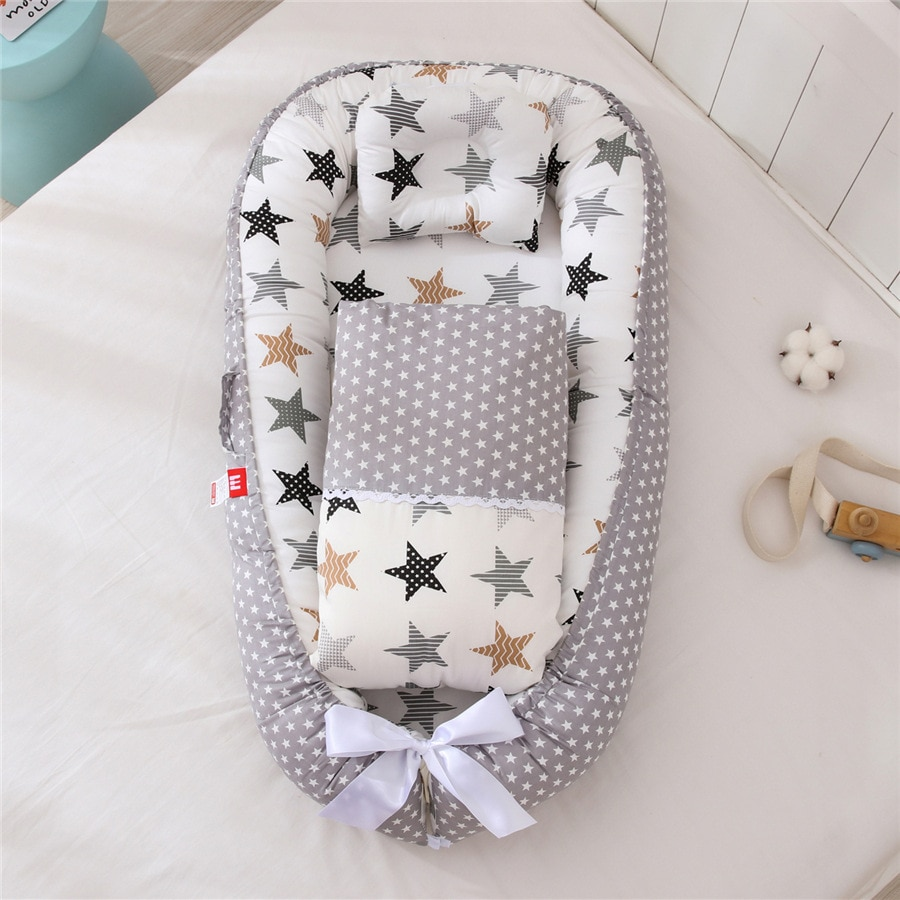 85X50cm Baby Bed Todlder Baby Lounger Baby Nest Cotton Fabric Baby Cribs/cot Bassinet for Girls Boys enlarge