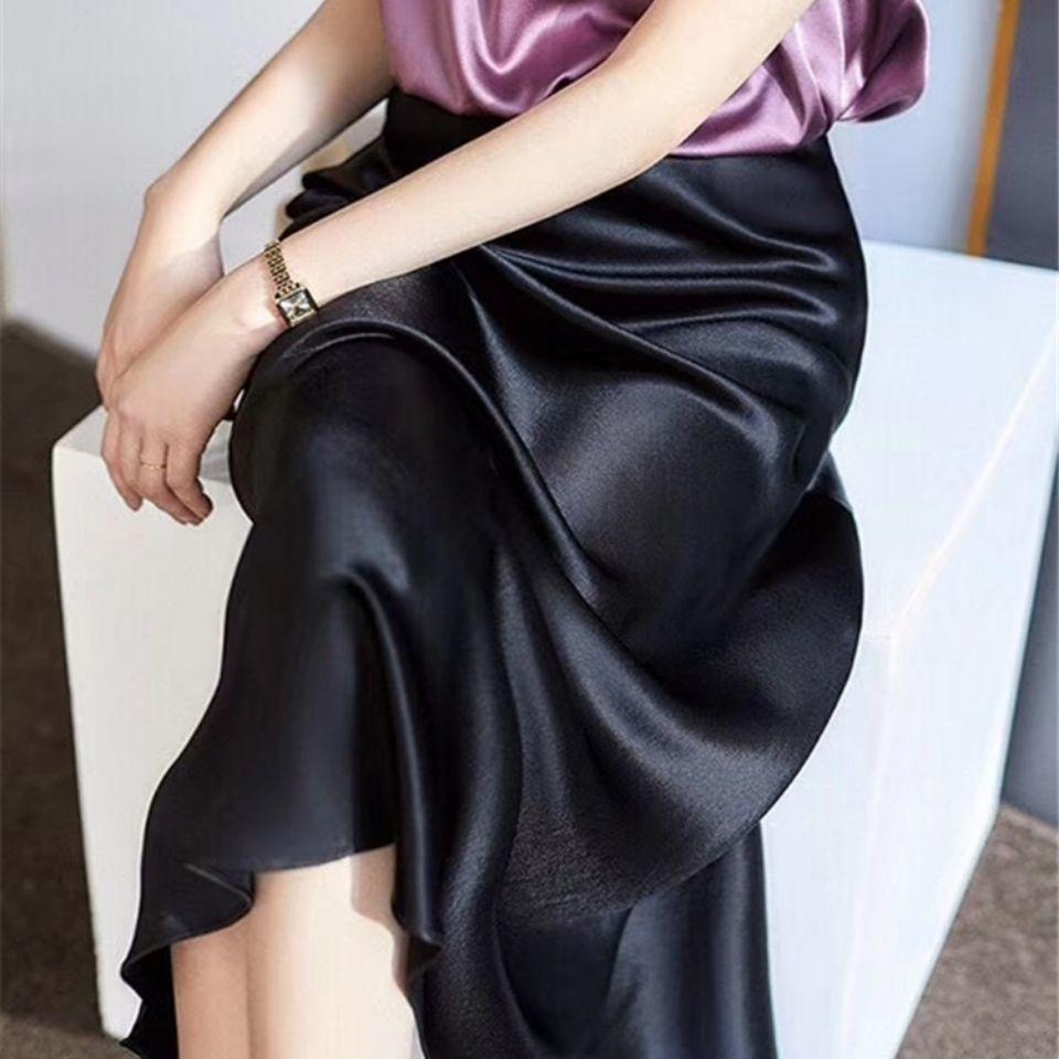 elegant high waisted solid color midi skirt for women Spring Summer Women's A-line Skirt Fashion High Waist Satin Midi Length Elegant Solid Color Vintage Skirts For Women