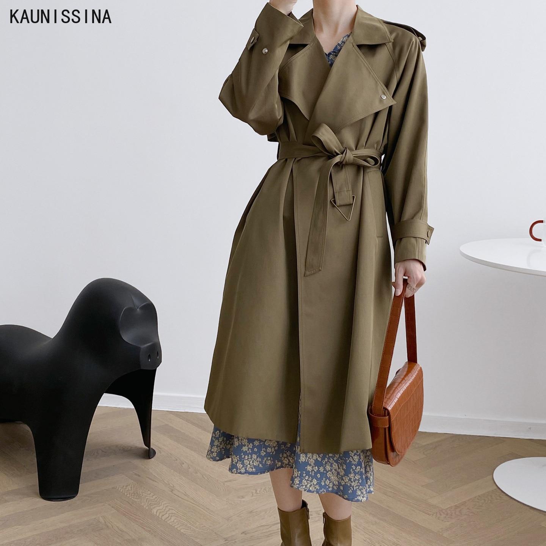 معطف نسائي خريفي ماركة ستريتوير استايل إنجلترا معطف واق من المطر طويل كاكي اللون ملابس نسائية أنيقة التصميم